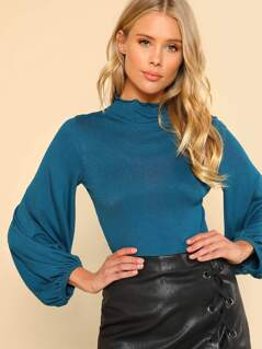 Lettuce Hem Bubble Sleeve Top TEAL
