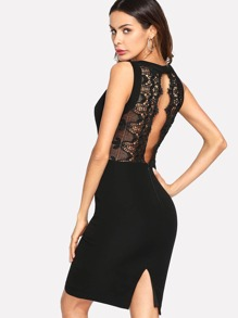 Contrast Scalloped Eyelash Lace Dress