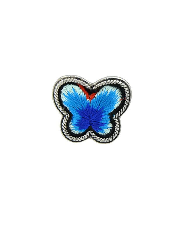 Blue Handmade Embroidery Butterfly Finger Ethnic Rings