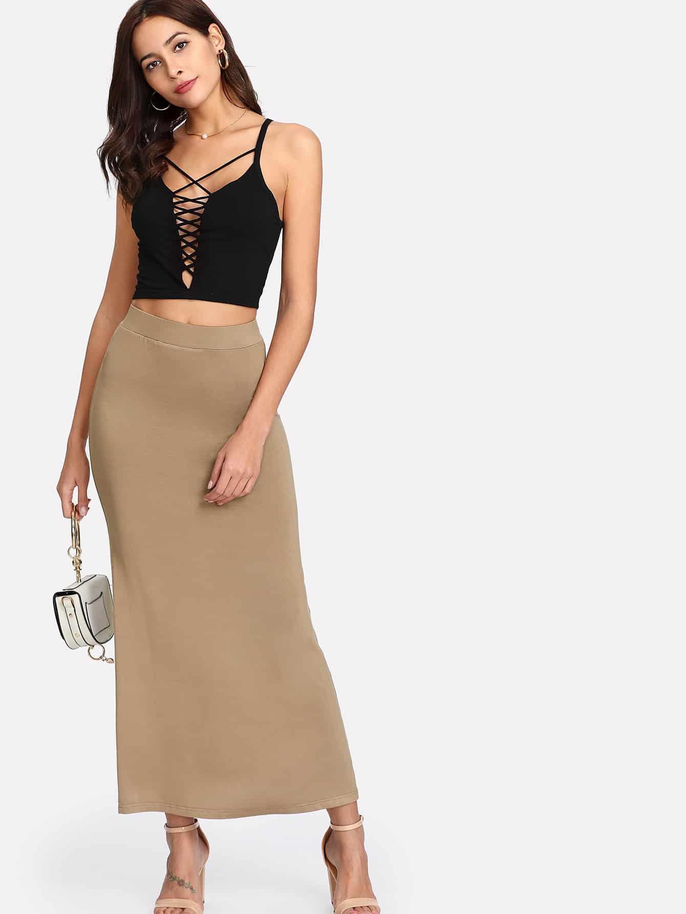 Elastic Waist Longline Jersey Skirt джеймс эшер bhakta ranga rasa india новый взгляд mp3