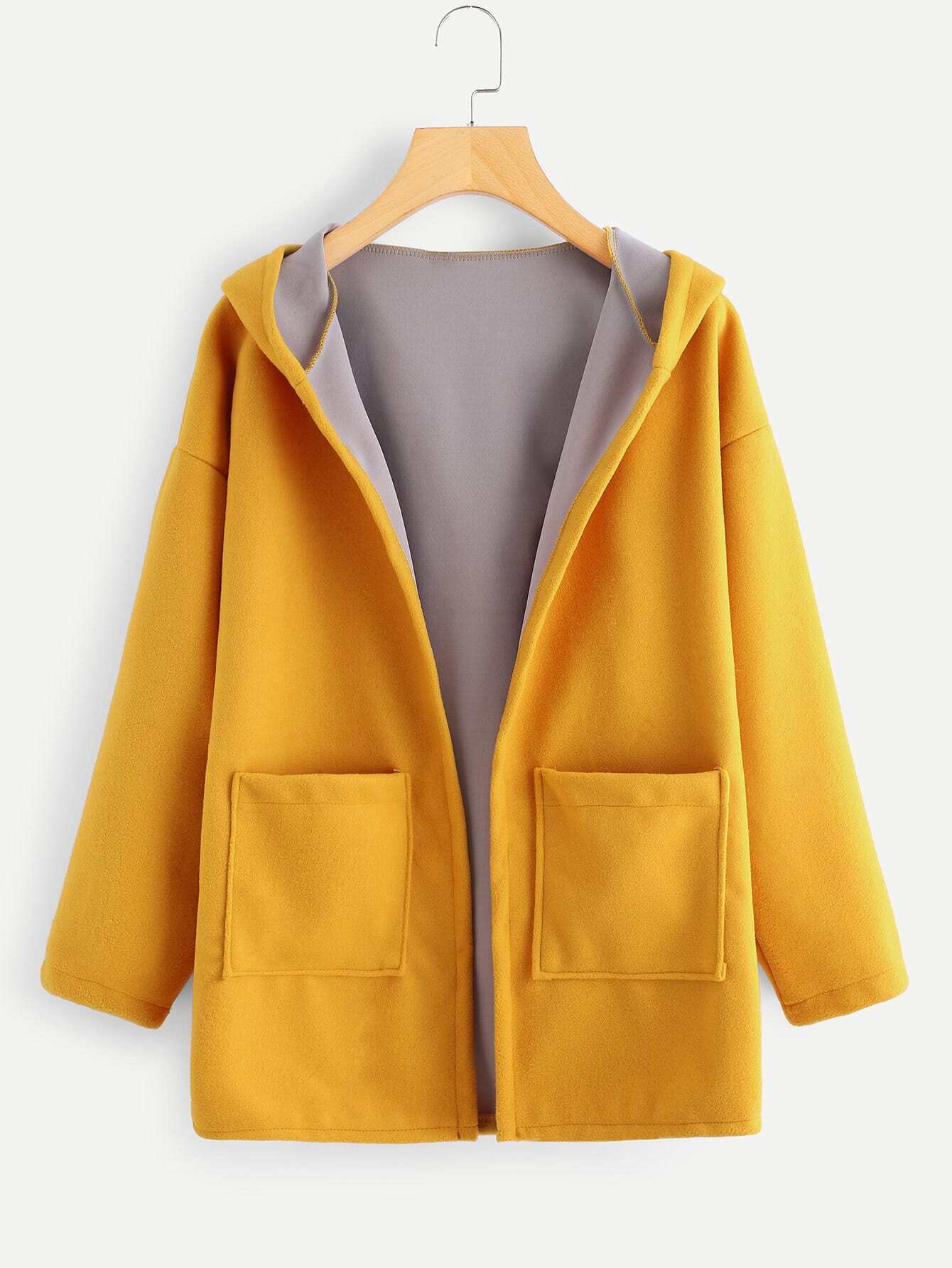Image of Contrast Lining Drop Shoulder Hooded Coat