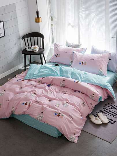 1.5m 4Pcs Cartoon Print Duvet Cover Set