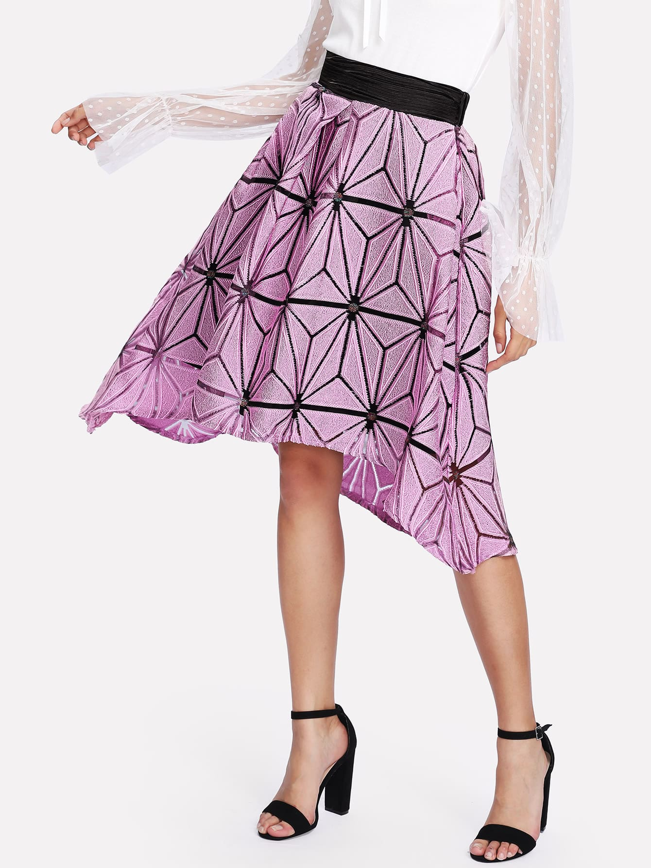 Geo Lace Insert Dip Hem Skirt lace insert fitted faux leather skirt