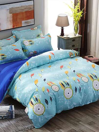 1.2m 4Pcs Feather Print Duvet Cover Set