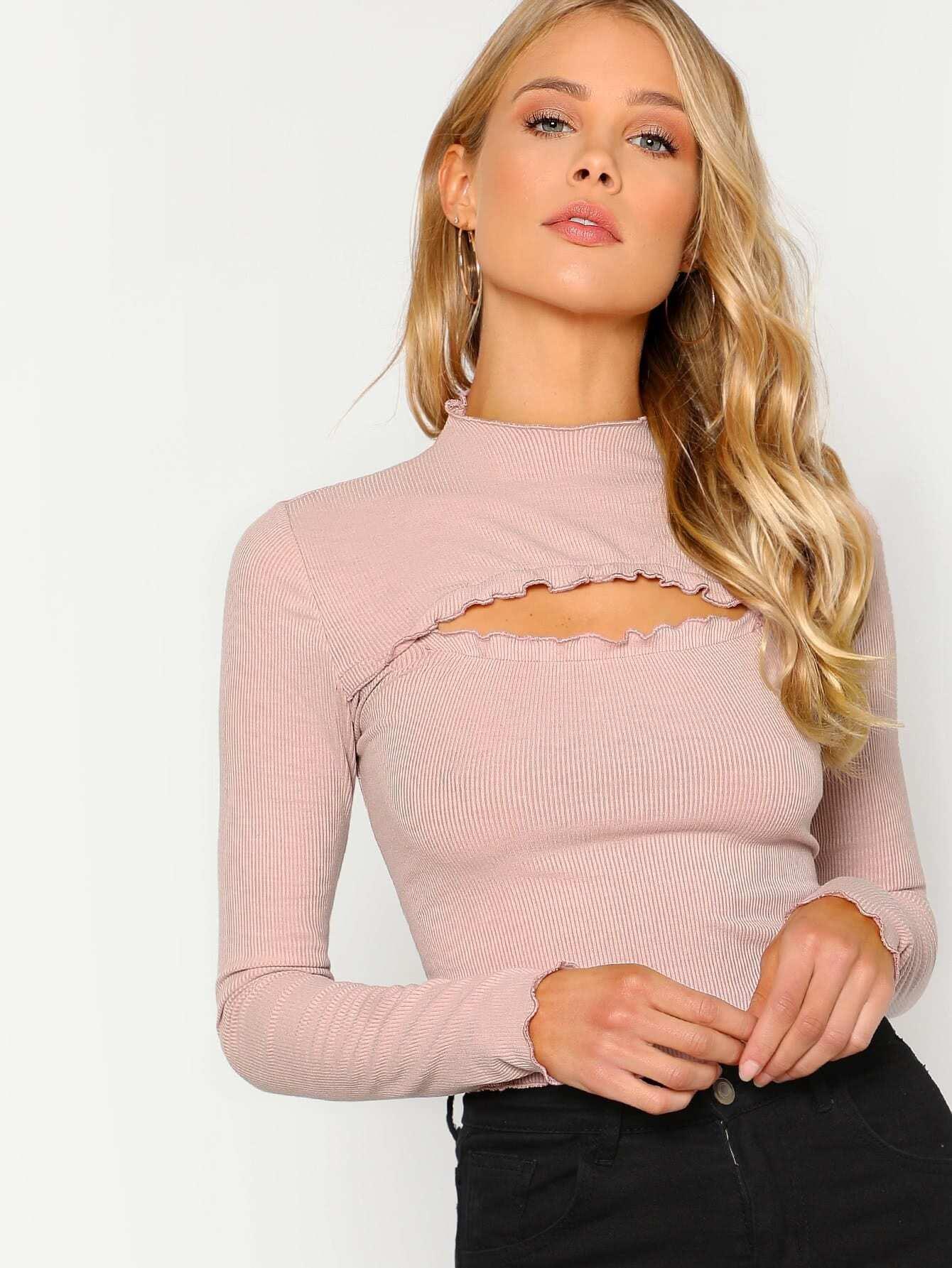 Cutout Front Rib Knit T-shirt rib knit tights