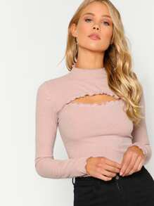 Cutout Front Rib Knit T-shirt