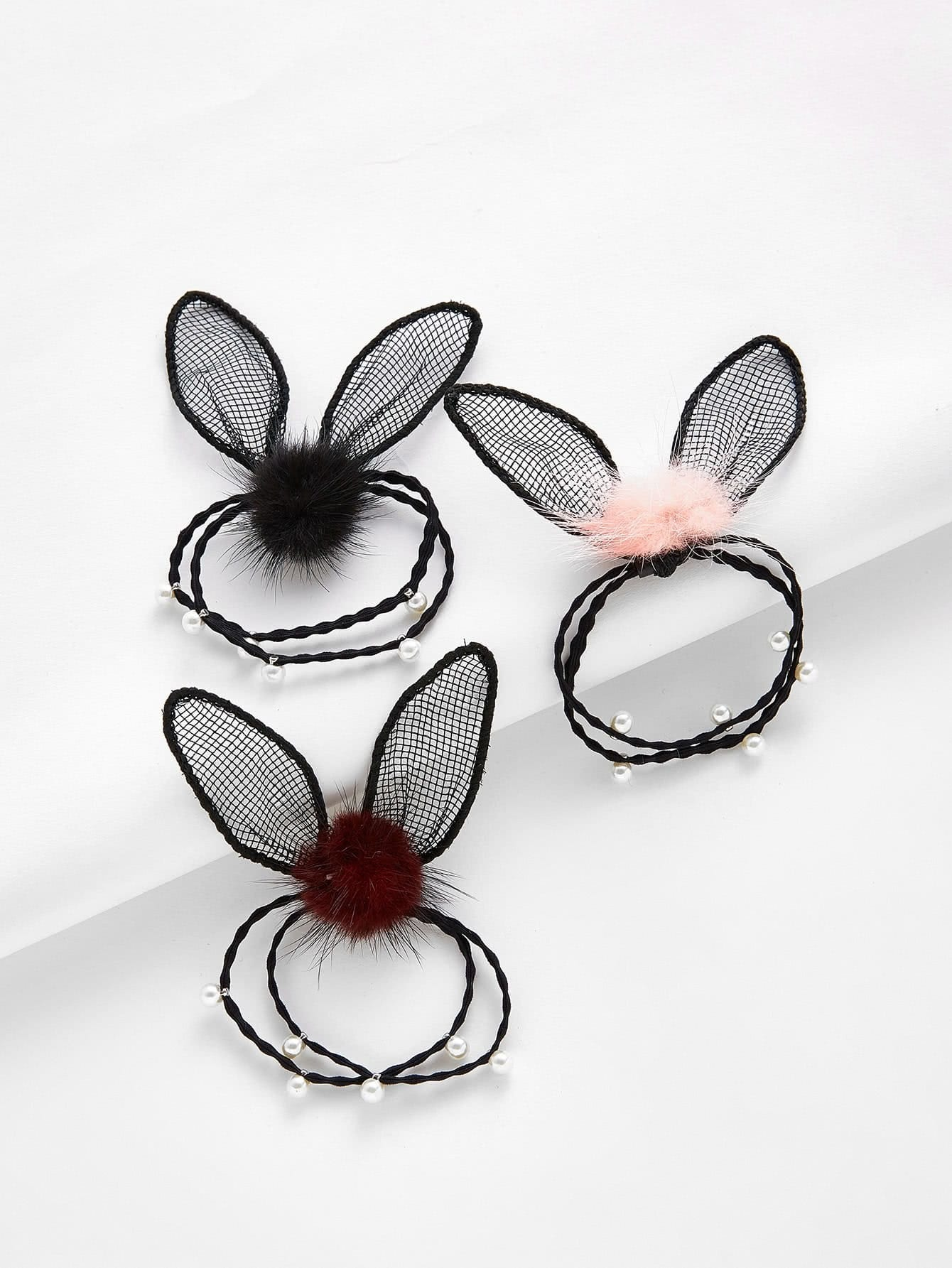 Net Ear & Faux Pearl Hair Tie 3pcs цена и фото