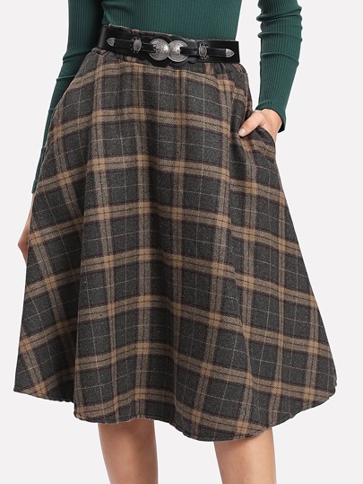 Elastic Waist Pocket Side Plaid Skirt