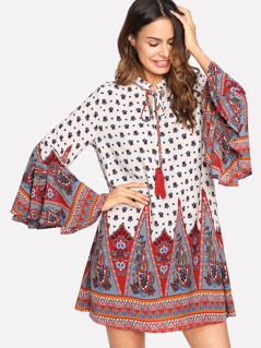 Tassel Tie Neck Bell Sleeve Ornate Print Dress