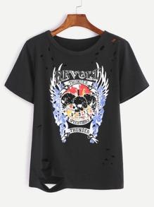 Black Printed Ripped T-shirt