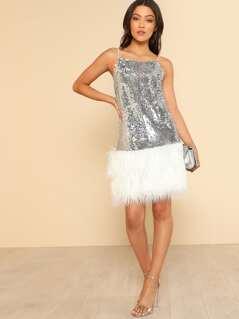 Contrast Faux Fur Hem Metallic Sequin Cami Dress