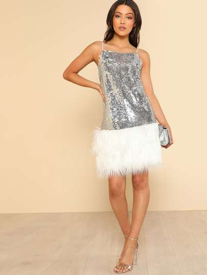 Contrast Faux Fur Hem Metallic Sequin Cami Dress