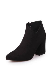 Side Zip V Cut Block Heeled Boots