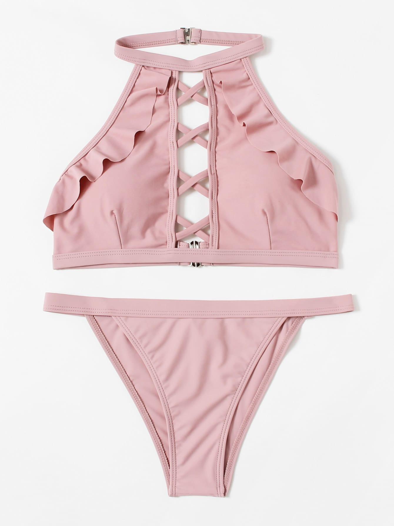 Criss Cross Ruffle Bikini Set criss cross ruffle bikini set