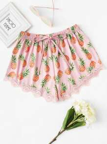 Pineapple Print Lace Trim Shorts