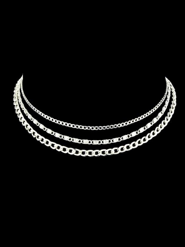 Silver Multi Layers Chain Boho Necklace Women Accessories