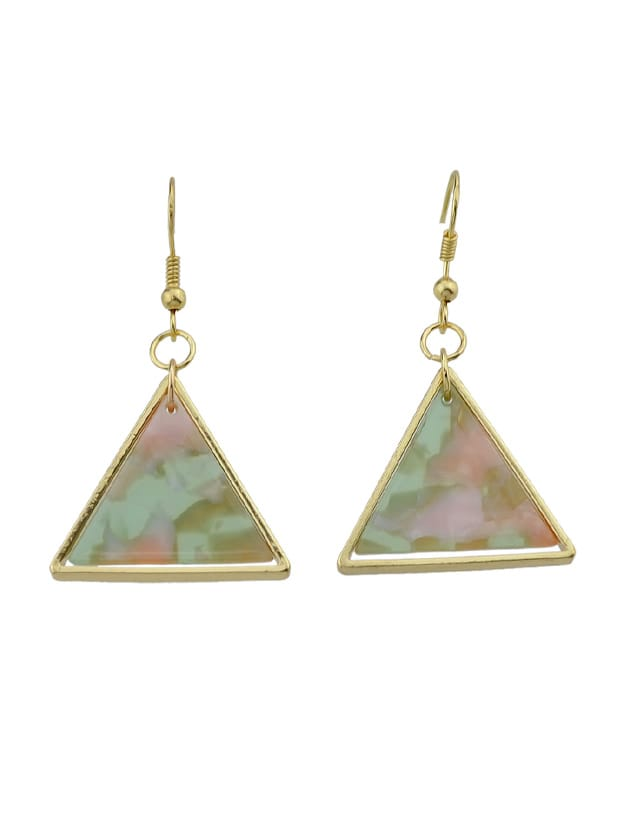 Green Acrylic Triangle Drop Earrings Brincos For Women