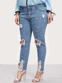 Pearl Embellished Ripped Raw Hem Jeans