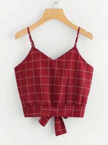 Checked Tie Back Crop Cami Top