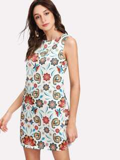 A Line Paisley Sleeveless Dress