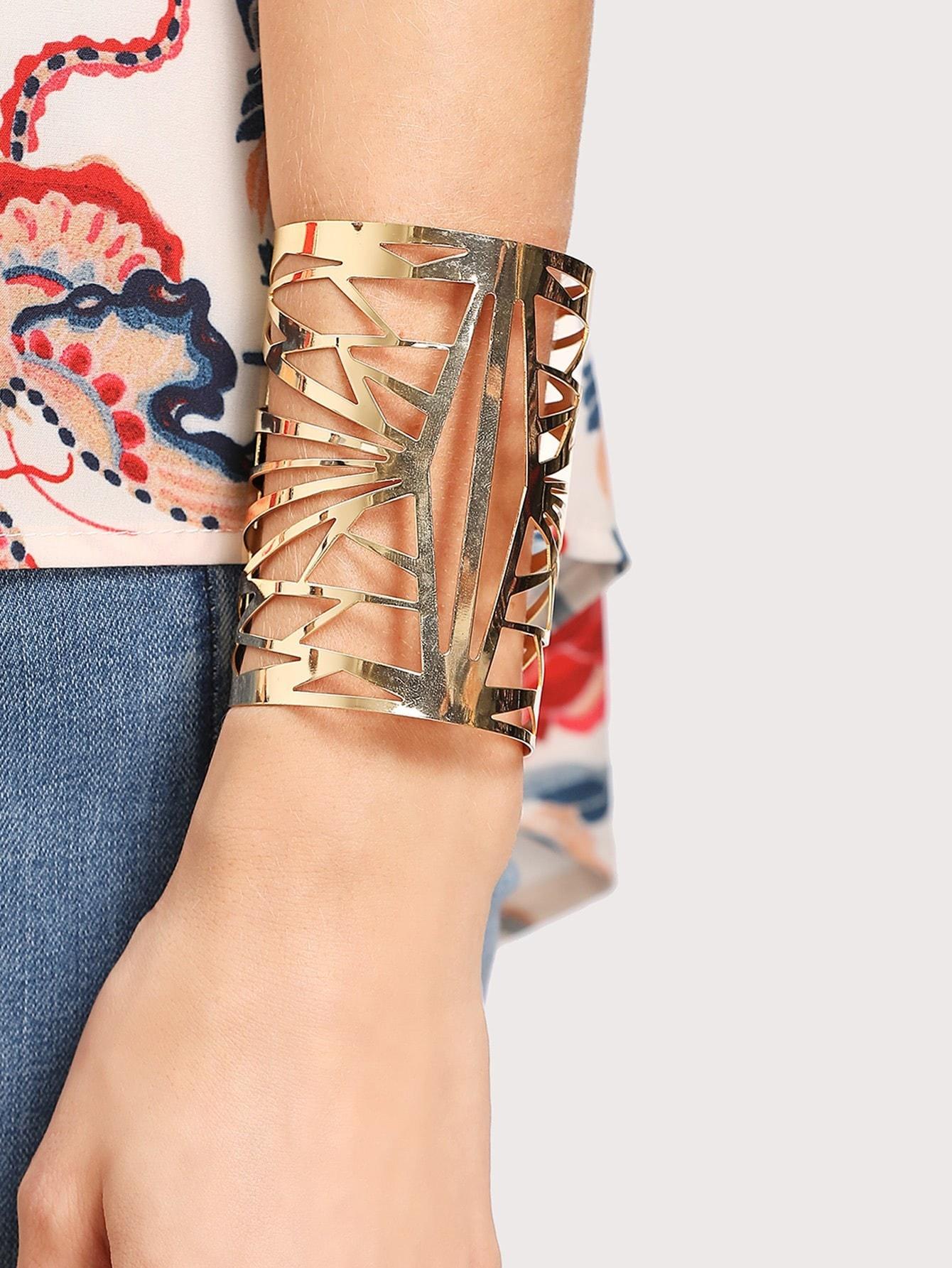 Cut Out Cuff Bracelet polished filigree wave cut out bracelet