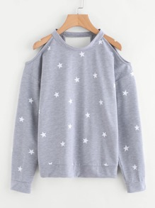 Stars Print Cut Out Marled Pullover
