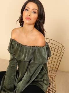 Silk Off Shoulder Top OLIVE