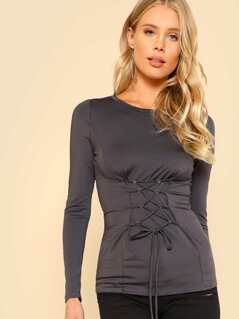 Front Lace Up Accent Top CHARCOAL