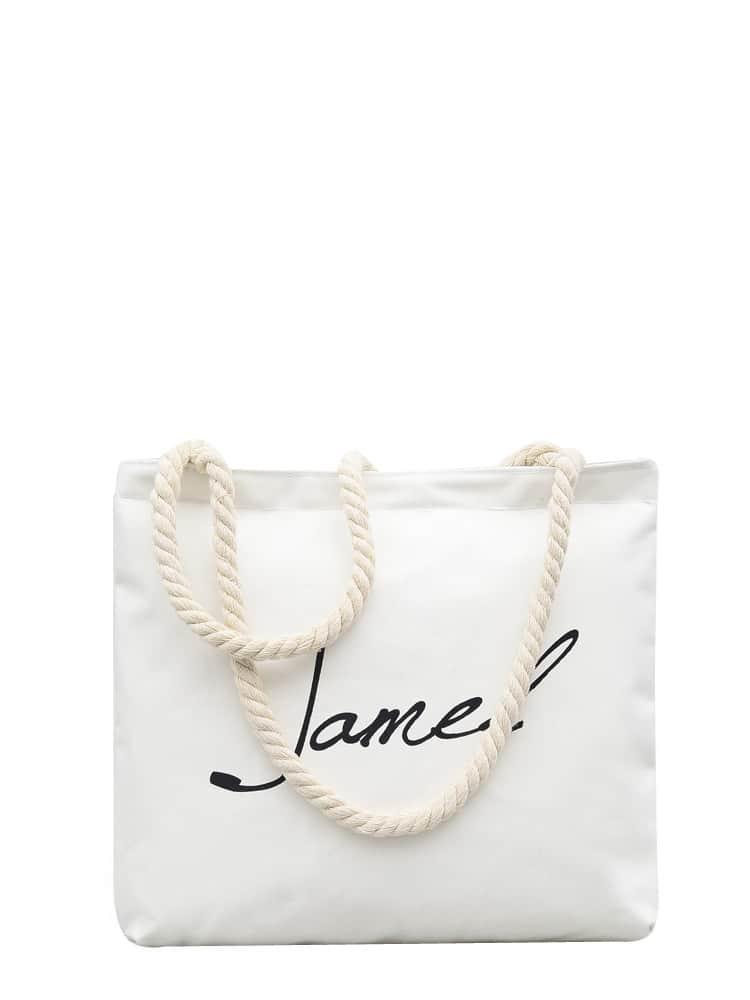 Letter Print Shopper Bag french fries print shopper bag