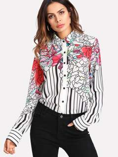 Button Up Floral & Striped Blouse