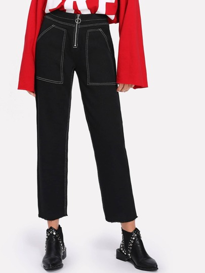 Exposed Zip Front Contrast Stitch Jeans
