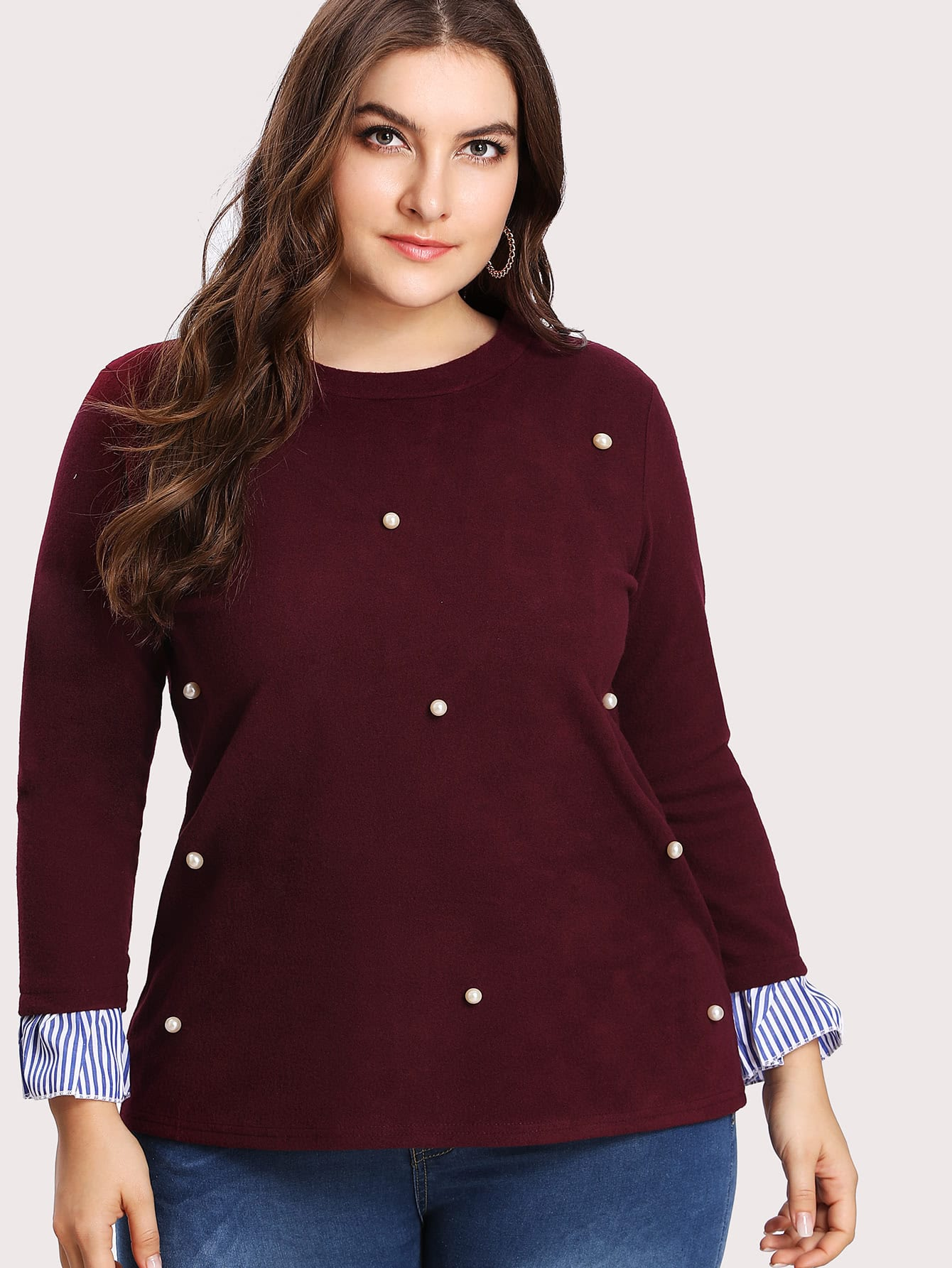 Plus Contrast Stripe Pearl Beading Pullover