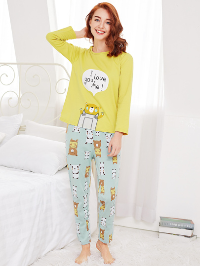 Cartoon Print Drop Shoulder Tee & Pants Pj Set