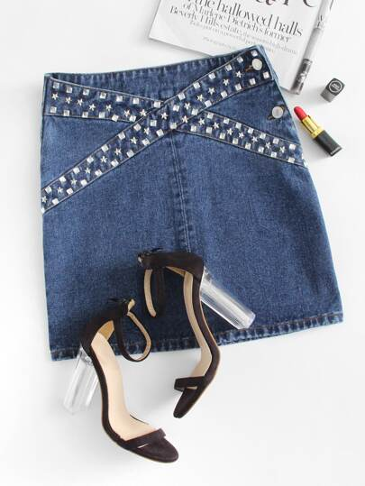 Rhinestone & Studs Panel Denim Skirt