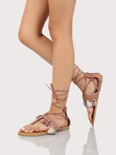 Faux Suede Tassle Lace Up Sandals MAUVE