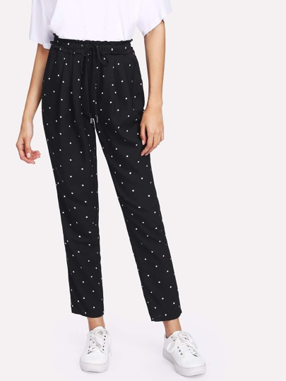 Frill Detail Drawstring Waist Polka Dot Pants