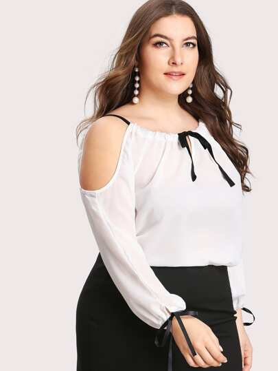 Open Shoulder Tie Detail Blouse