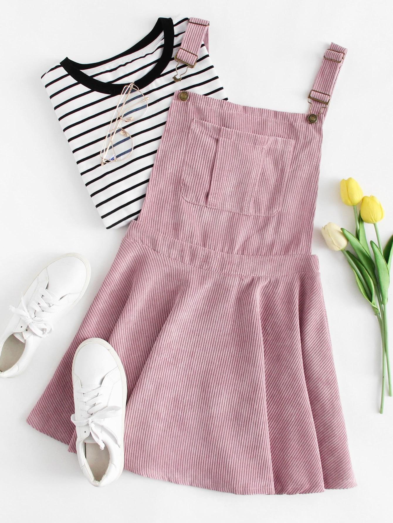 Купить Кокетливый стиль Одноцветный с карманами Розовые Платья, null, SheIn