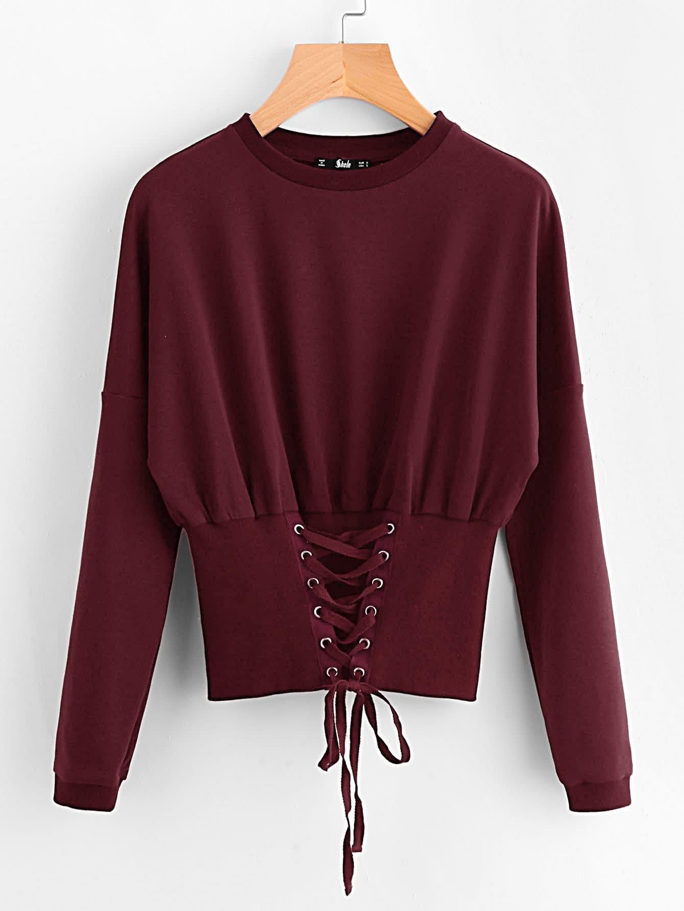 Grommet Lace Up Wide Hem Sweatshirt grommet lace up marled knit crop sweatshirt