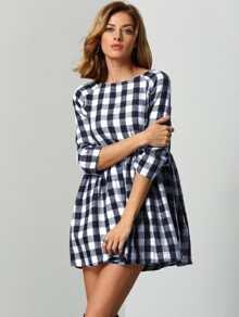 Raglan Sleeve Smock Gingham Dress