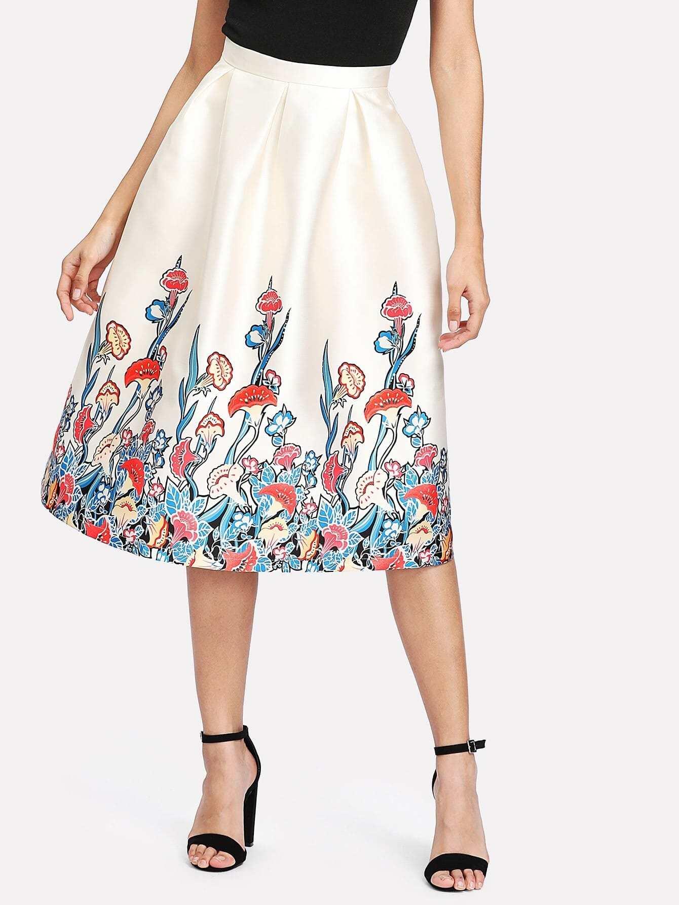 все цены на Botanical Print Boxed Pleated Skirt