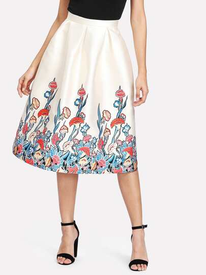 Botanical Print Boxed Pleated Skirt