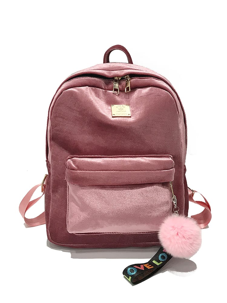 Pocket Front Velvet Backpack With Pom