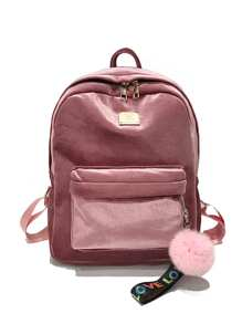 Pocket Front Velvet Backpack With Pom Pom