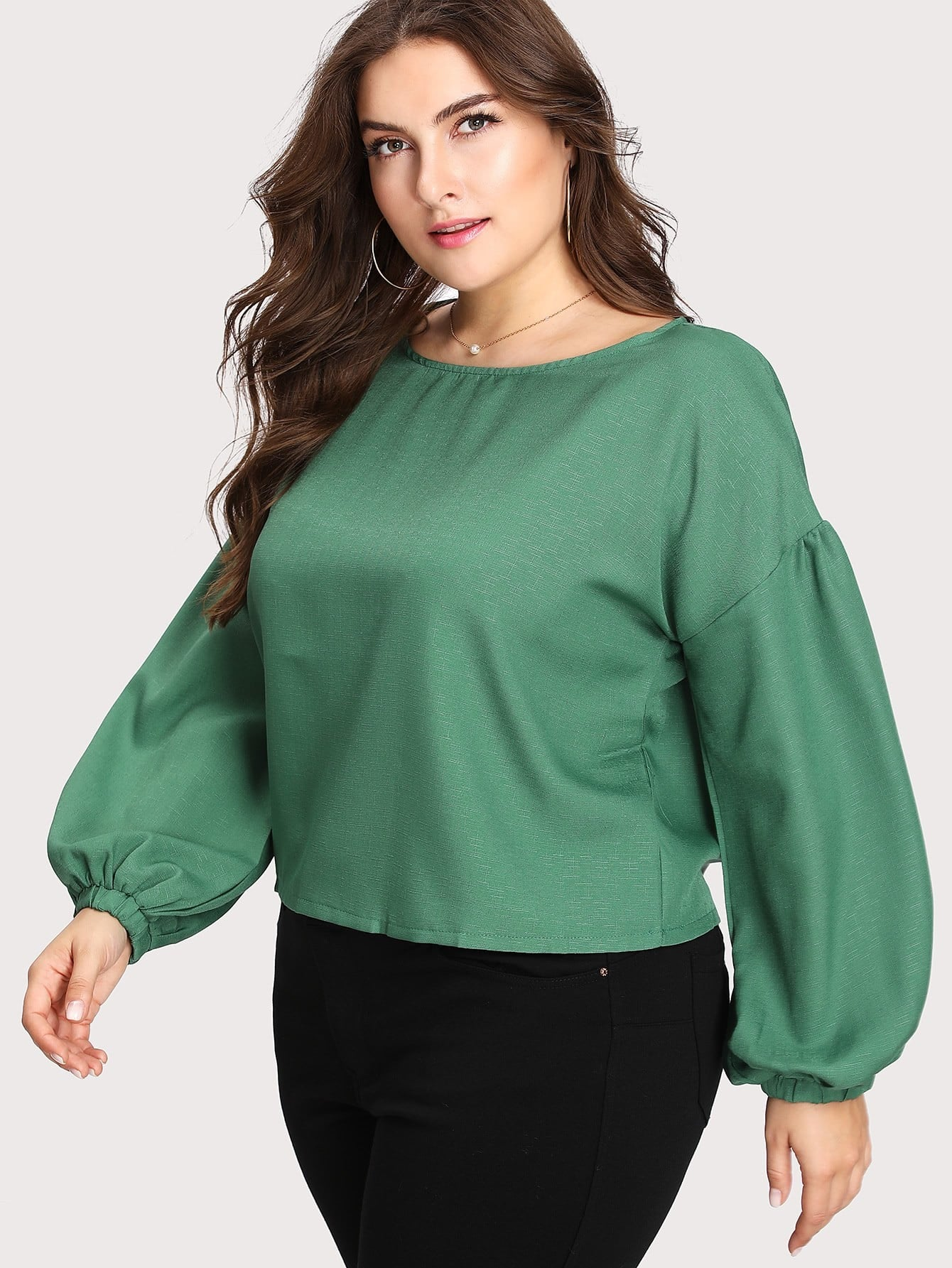 Drop Shoulder Lantern Sleeve Blouse drop shoulder lantern sleeve sweatshirt