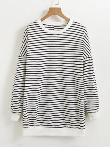 Seam Back Striped Sweatshirt