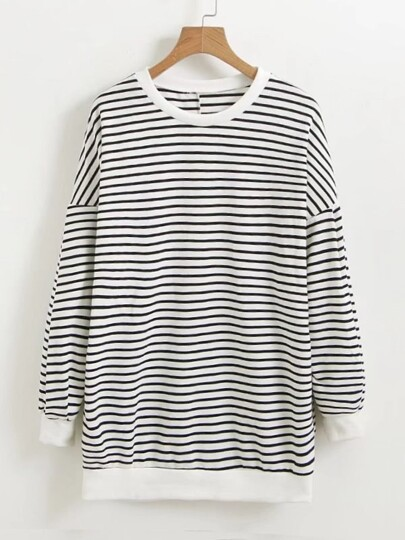 Seam Back Striped Sweatshirt