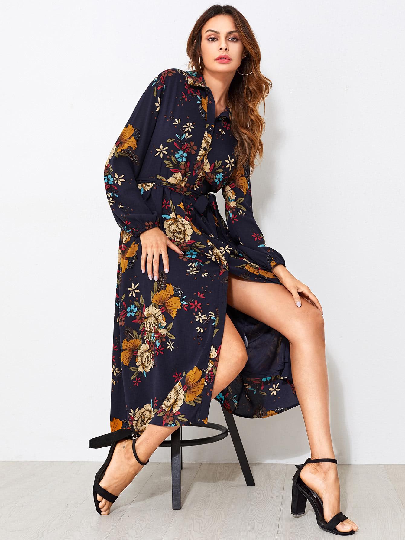 Купить Модное платье-рубашка с принтом и поясом, Andy, SheIn