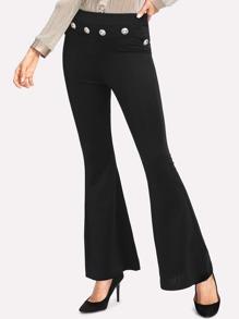 Pantalons évasé avec le zip