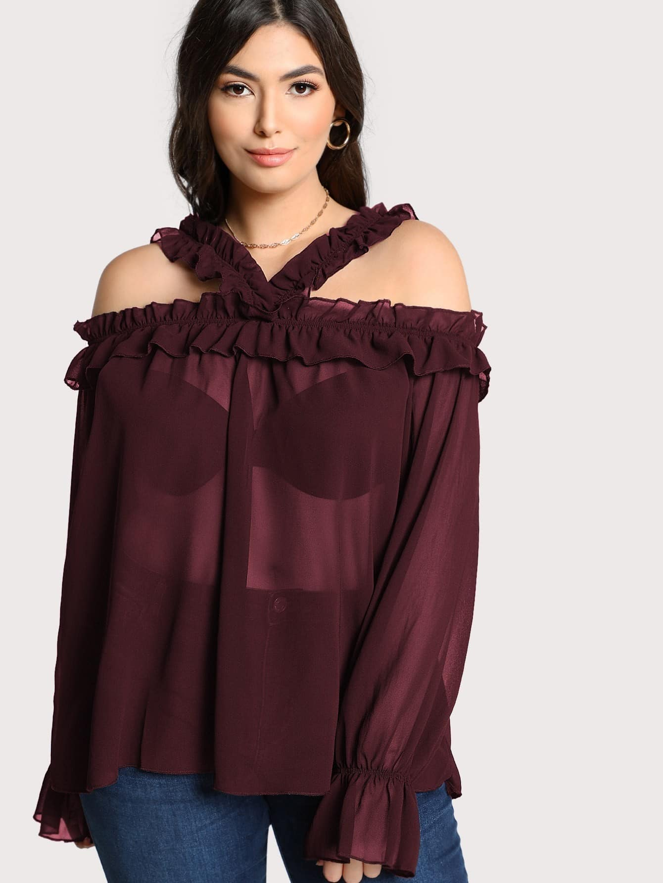 Sheer Long Sleeve Ruffle Trim Top sheer long sleeve ruffle trim top